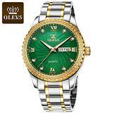 Mens Watches Stainless Steel Wrist Watch Quartz Calendar Date Waterproof Analog Quartz Watch Calendar Date Window Diamond Waterproof Business Casual Wristwatch for Men (Green)