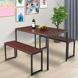 JAXPETY Modern Style 3-Piece Kitchen Dining Bar Table Set, Industrial Pub Table with 2 Benches, Counter Height Dining Table Set for Kitchen Living Room, Brown