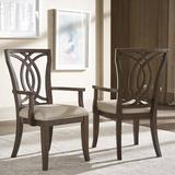Three Posts™ Myra Queen Anne Back Arm Chair in Beige/Dark WalnutWood/Upholstered/Fabric in Brown, Size 38.75 H x 23.0 W x 23.37 D in   Wayfair