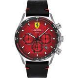 Black Leather Strap Watch 44mm - Black - Ferrari Watches