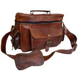 Vintage Leather DSLR Camera Case Messenger Crossbody Sling Bag Fit SLR with 2 Lenses for Canon Sony Nikon Canon Olympus and So On
