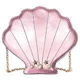 Felice Women Girls Mini Pearl Hologram Shell Shape Leather Cross-body Shoulder Bag Chain Strap Evening Clutch Purse