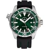 Zeno Men's Automatic Divers Stainless Steel Luxury Watch - 48mm Green Dial, Antireflective Sapphire Crystal, Luminous Hands and Date - Black Rubber Strap Swiss Made Classic Mens Watch 6603-2824-A8