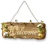 The Holiday Aisle® Easter Welcome Sign Wall Decor Wood in Brown/Green, Size 8.0 H x 21.0 W x 1.5 D in | Wayfair RAE-D030149