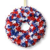 "The Holiday Aisle® 14"" Patriotic Hydrangea Wreath in Blue/Red/White, Size 14.0 H x 14.0 W x 3.25 D in | Wayfair RAP-528414W-1"