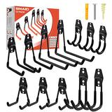 Garage Hooks, 12 Pack Heavy Duty Garage Storage Hooks Steel Tool Hangers for Garage Wall Mount Utility Hooks and Hangers with Anti-Slip Coating for Garden Tools Organizer, Ladders, Bikes, Bulky Items