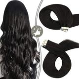 Tape in Hair Extensions Human Hair 16Inch Moresoo Tape Hair Extensions Natural Black Hair Extensions Human Hair Black Tape Hair Extensions 100% Human Hair Extensions Seamless Hair Extensions 50g/20pcs