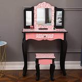 FRITHJILL Kids Vanity,Wooden Makeup Table and Chair Set for Girls,Pink Leopard Print Child Vanity Desk Three-Fold Mirror Dresser with Drawer