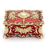 "Hipiwe Vintage Rectangular Jewelry Box - Enameled Trinket Box Organizer Two Layer Treasure Chest Box Jewelry Decorative box Keepsake Gift Box Case for Women Girls, 7""x5""x3"""