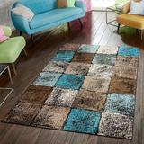 Wrought Studio™ Keneipp Geometric Turquoise/Brown Area Rug Polypropylene/Jute & Sisal in White, Size 47.0 W x 0.31 D in | Wayfair