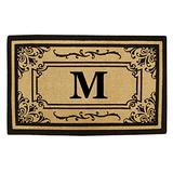 Nedia Home Heavy Duty Coco Georgetown Doormat, 24 by 39-Inch, Monogrammed M