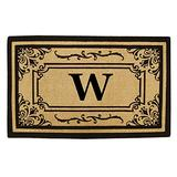 Nedia Home Heavy Duty Coco Georgetown Doormat, 24 by 39-Inch, Monogrammed W