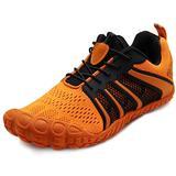 Oranginer Mens Womens Minimalist Wide Toe Box Workout Shoes Barefoot Running Shoe Gym Cross Training Trail Hiking Shoes Sneakers Orange Men Size 8.5 Women Size 10