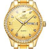 Gold Watches for Men Stainless Steel Luxury Dress Quartz Analog Men's Wrist Watches OLEVS Classic 14K Gold Plated Diamond Watch with Date Waterproof Wristwatch Men's Luminous Dial,relojes de Hombre