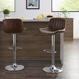 Volans Mid Century Modern Faux Leather Swivel Adjustable Height Bar Stools Set of 2, Counter Height Pub Chair with Back, Chrome Base, Cognac