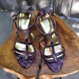 Coach Shoes | Coach Purple Python Print T Strap Heeled Sandals 6 | Color: Black/Purple | Size: 6