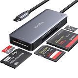 ZIYUETEK USB C CF Card Reader,5- in-1 Aluminum Thunderbolt 3 Memory Card Reader for CF, SD/SDHC,TF/Micro SD/MS/M2,CompactFlash Card - Grey