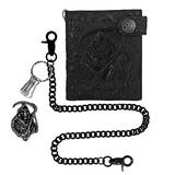 Mens Leather Embossed Skull Biker Wallet with Black Heavy Stainless Steel Pants Trousers Jeans Key Wallet Chain