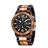 Mens Wooden Watch, Quartz Casual WristWatches for Men, Wood Strap, Chronograph, Calendar & Date Dispaly Casual Watches Best Gift for Yourself Father Husband Son with Watch Box