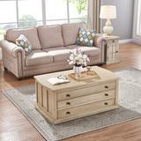 Canora Grey Saldana Lift Top Block Coffee Table w/ Storage Wood in White, Size 19.0 H x 42.0 W x 24.0 D in   Wayfair