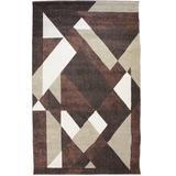 Orren Ellis Dura Geometric Chocolate/Brown Area Rug Polypropylene in White, Size 47.0 W x 0.45 D in | Wayfair 2A62C5570D6B44B1B182F6DAD6FA10E5