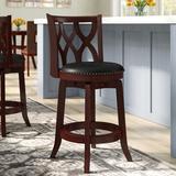 "Three Posts™ Harold Swivel Counter & Bar Stool Seat Height: Counter Stool (24"" Seat Height), Leather/Faux leather/Wood in Cherry | Wayfair"