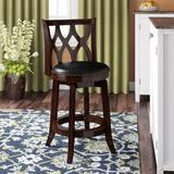 Three Posts™ Harold Swivel Counter & Bar Stool Wood/Upholstered/Leather/Faux leather in Black/Brown, Size 37.5 H x 18.0 W x 19.0 D in | Wayfair