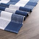 Buffalo Plaid Rugs for Living Room 24x36 inch- Blue White, Kitchen Rugs,Entry Way Rugs, Door Rugs, Area Rugs,Farmhouse Bath Room Rugs,Buffalo Check Rugs,Woven Rag Rugs,2x3 Rugs,Revirsible Rugs Cotton