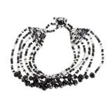 Crystal and glass beaded strand bracelet, 'Nocturnal Brilliance in Black'