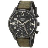 Seiko Men's Chronograph/Essentials Stainless Steel Japanese Quartz With Silicone Strap, Green (Model: SSB369)