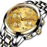 LIGE Watches Mens Fashion Casual Watch Full Steel Quartz Analog Silver Gold Wrist Watch Men Luxury Brand Waterproof Chronograph Watch Date Business Watch