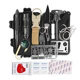 KITPIPI Survival Gear Kit 27 Pieces Outdoor Survival Tool Emergency Camping Gear with Compass Flintstones Saber Card Styptic for Adventure Outdoors Sport Best Gift for Men Boys
