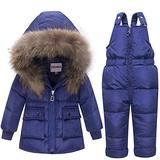 ZOEREA Girls Winter Snowsuit, Children Clothing Sets Winter Hooded Duck Down Jacket + Trousers Snowsuit for Boys Unisex Baby (18-24 Months, Blue1)