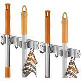 Gecious Broom Mop Holder Wall Mount 22 Inches Long, Broom Organizer, Stainless Steel Heavy Duty Tool Hanger Rack With 4 Racks 6 Hooks for Bathroom Home Kitchen Garage Garden Storage Organization Gray