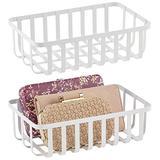mDesign Farmhouse Metal Wire Storage Organizer, Holder Bin Basket Shelving Organization for Closet, Entryway, Bedroom, Bathroom, Home Office - 2 Pack - White