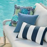 "Knife-Edge Square Outdoor Pillow - Dahlia Blooms Neutral, 12"" X 20"" Lumbar - Grandin Road"