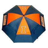 "Team Golf NCAA Illinois Fighting Illini 62"" Golf Umbrella with Protective Sheath, Double Canopy Wind Protection Design, Auto Open Button"
