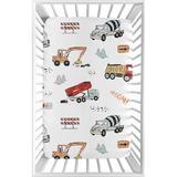 Sweet Jojo Designs Construction Truck Fitted Crib Sheet Polyester, Size 5.0 H x 24.0 W x 38.0 D in | Wayfair MiniSheet-Construction-RD-BU-PRT