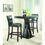 Red Barrel Studio® Dionara 3 Piece Bar Height Dining Set Wood/Upholstered Chairs in Brown, Size 42.0 H x 35.5 W x 35.5 D in | Wayfair