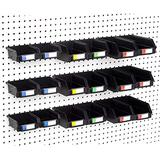 Pegboard Bins - Set of 18, Black - Hooks to Any Peg Board - Organize Hardware, Accessories, Attachments, Workbench, Garage Storage, Craft Room, Tool Shed, Hobby Supplies, Small Parts…