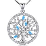 Aniu Birthstone-Necklace for Women, Solid Sterling Silver Family Tree-of-Life-Pendant, Crystal Gemstone Charm Jewelry, Birthday Gift for Mom Wife Girlfriend Grandma (March Birthstone)