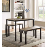 Tool less Boltzero Dining Table w/ 2 Benches - 4D Concepts 159956