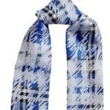 Burberry Accessories | Burberry Light Blue Scribble Check Silk Twilly | Color: Blue/White | Size: Os