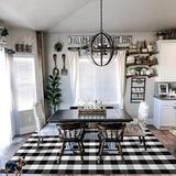 EARTHALL Buffalo Plaid Rug Black and White 5x7 Area Rug, Cotton Hand-Woven Washable Indoor Outdoor Area Rug Farmhouse/Dining Room/Bedroom/Living Room Rug Retro Lattice Checkered Carpet (59''x78'')