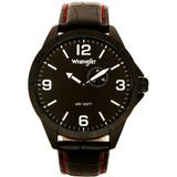 Watch, 48mm Ip Titanium Case With Titanium Dial, Second Hand Subdual, Black Strap With Red Stitching - Black - Wrangler Watches