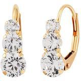 Swarovski Crystal(2-3/4 Ct. T.w.)three Stone Lever Back Earrings In 14k Yellow Gold - Metallic - Macy's Earrings