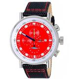 Quartz Red Dial Black Polyurethane Mens Watch -40 - Red - Adee Kaye Watches
