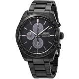 Solar Chronograph Quartz Black Dial Mens Watch - Black - Seiko Watches