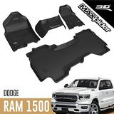 3D MAXpider All-Weather Floor Mats Compatible with Dodge Ram 1500 Quad Cab 2019-2021 (1st Row Bench Seat, 2nd Row w/o underseat storage) Custom Fit Car Floor Liners, Kagu Series (1st & 2nd Row, Black)