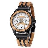Mens Wooden Watches, shifenmei 5600 Wooden Watches Handmade Multifunction 12/24H Stopwatch Calendar Wood Alloy Watches Adjustable Wood Alloy Strap Wooden Watches for Men (Zebra-Black)